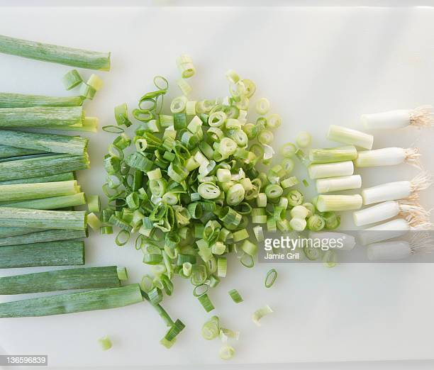 Close up of chopped green onions
