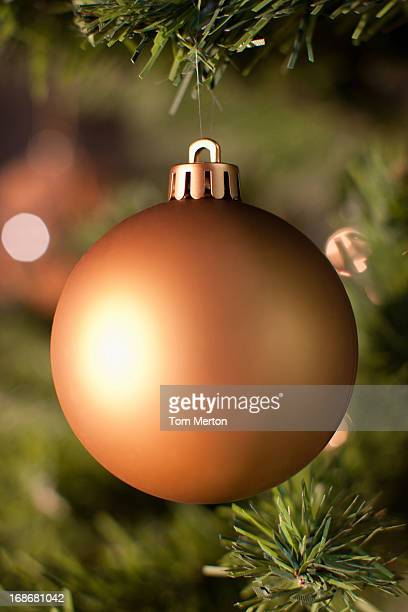 Close up of Christmas ornament on tree