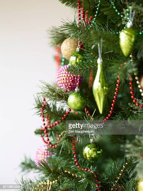 Close up of christmas tree with baubles