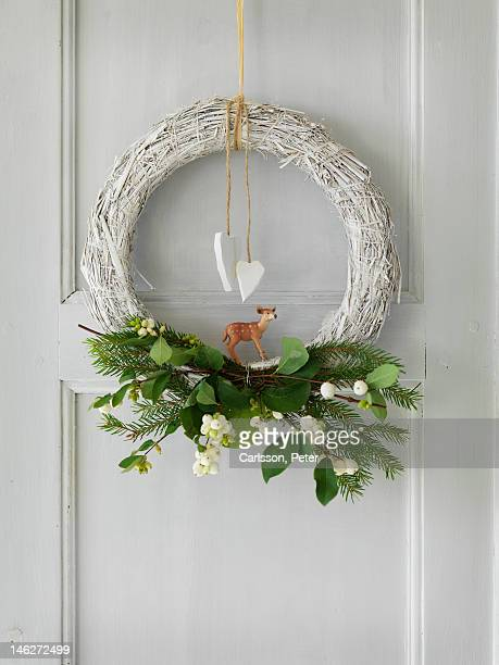 Close up of Christmas wreath on door
