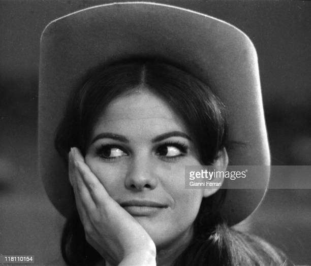 "Close up of Claudia Cardinale in the movie 'Circus World ', directed by Henry Hathaway ""Madrid, Spain."