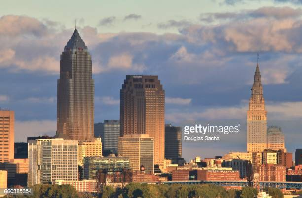 close up of cleveland's city skyline - cleveland ohio stock pictures, royalty-free photos & images