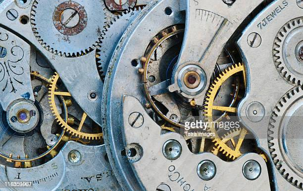 Close up of clock mechanism