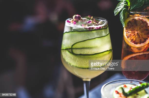 close up of cocktails on marble benchtop in bar - refreshment stock pictures, royalty-free photos & images