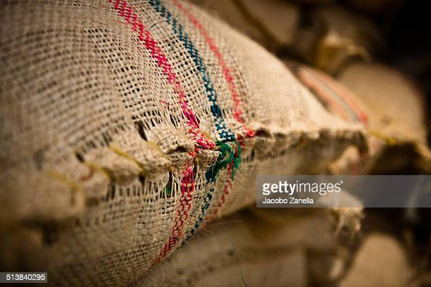 Close up of coffee beans burlap sack