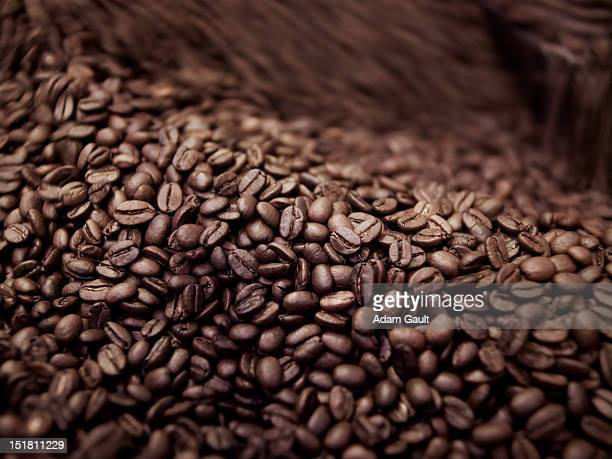 Close up of coffee beans in roasting process