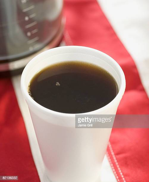 close up of coffee in disposable cup - polystyrene stock pictures, royalty-free photos & images