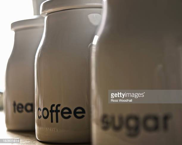 Close up of coffee, tea and sugar jars