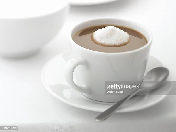 close up of coffee with too much sugar - sugar coffee stock photos and pictures