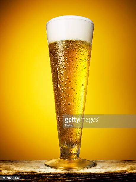 close up of cold beer glass. - ビアグラス ストックフォトと画像
