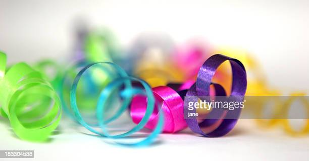 Close up of colorful curled ribbons