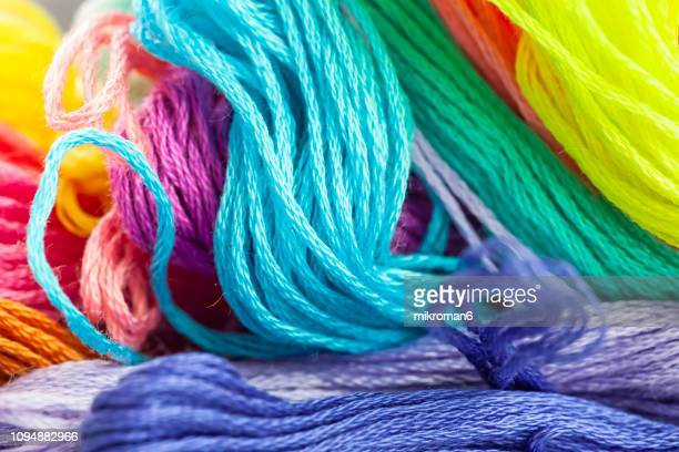 close up of colorful embroidery floss - wool stock pictures, royalty-free photos & images