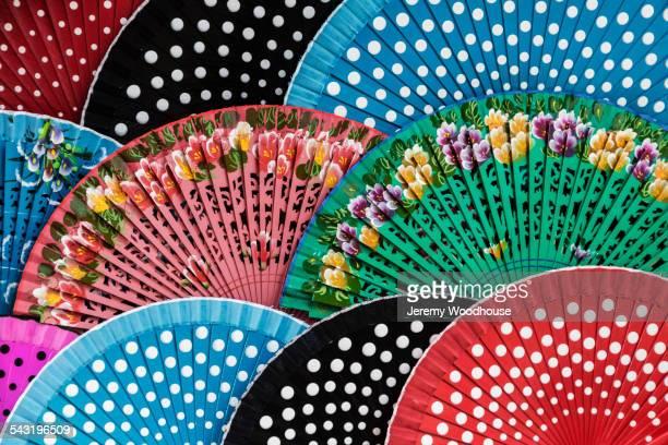 close up of colorful fans - tradition fotografías e imágenes de stock