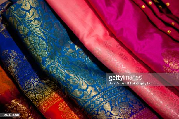 Close up of colorful Indian fabric