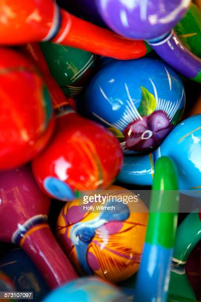 Close up of colorful painted maracas