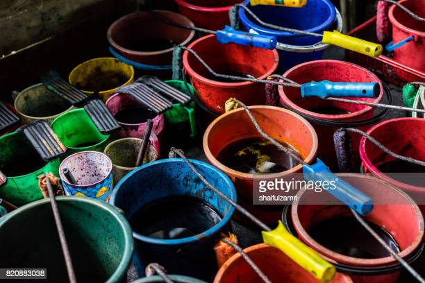 close up of colour pallet for making batik - shaifulzamri stock pictures, royalty-free photos & images