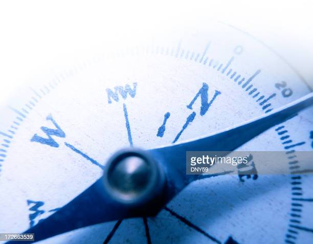 Close Up of Compass Face With Shallow Depth Of Field