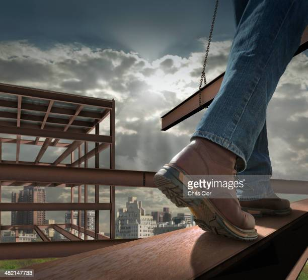 close up of construction worker on infrastructure - metallic boot stock pictures, royalty-free photos & images