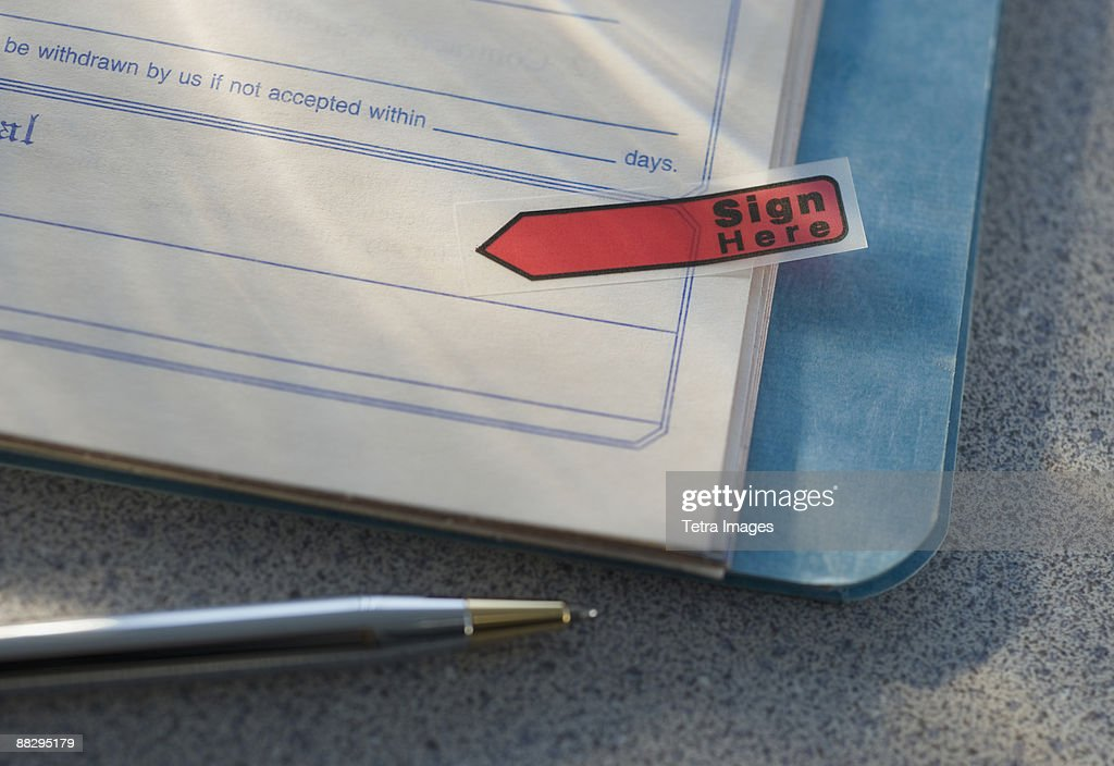 Close up of contract : Stock Photo
