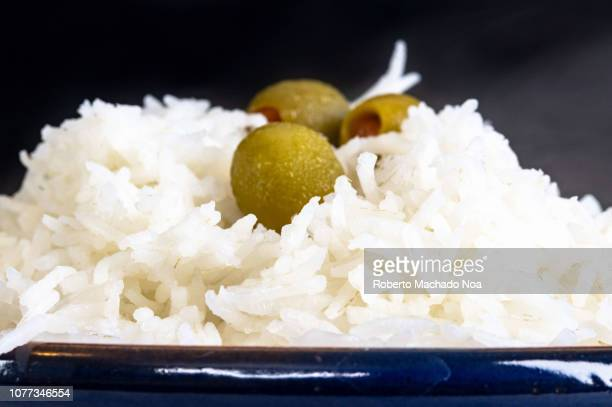 Close up of cooked white basmati rice The carbohydrate food is a staple in many countries