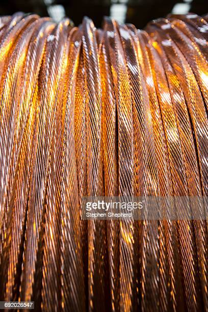 Close up of copper cable on reel