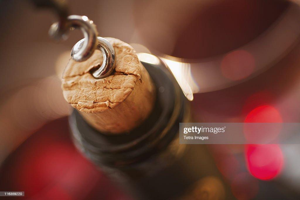 Close up of corkscrew in cork : ストックフォト