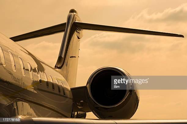 Close up of corporate jet in orange