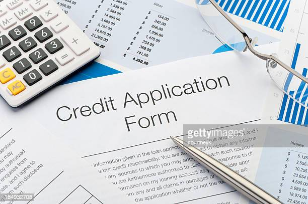 close up of credit application form - application form stock pictures, royalty-free photos & images