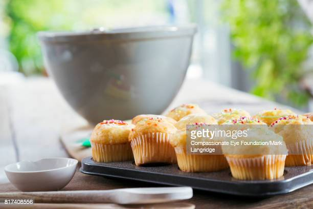 close up of cup cakes in kitchen - home made stock pictures, royalty-free photos & images