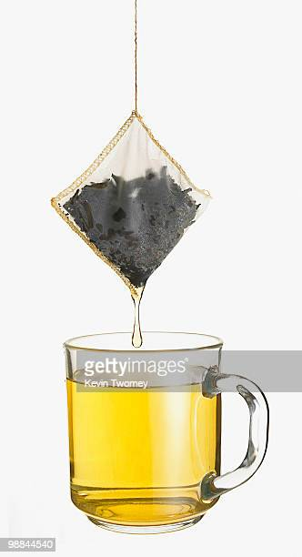 Close up of cup of tea and dripping tea bag