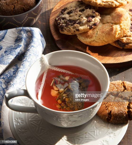 close up of cup of tea with cookie - snickerdoodle stock pictures, royalty-free photos & images