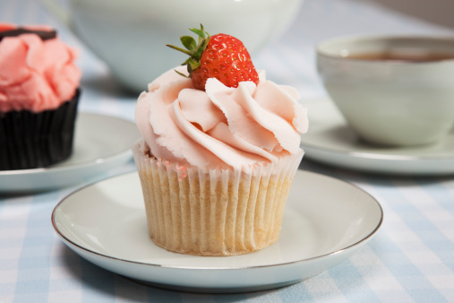Close up of cupcake with strawberry - gettyimageskorea