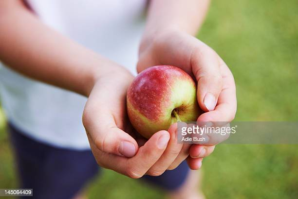 Close up of cupped hands holding fruit