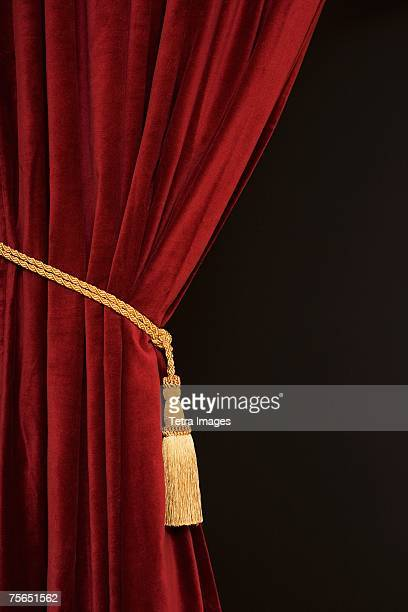 close up of curtain and tieback - stage curtain stock pictures, royalty-free photos & images