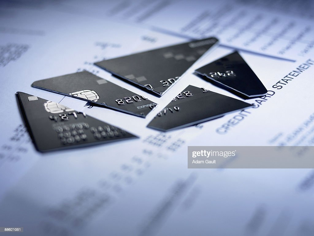 Close up of cut pieces of credit card : Stock Photo