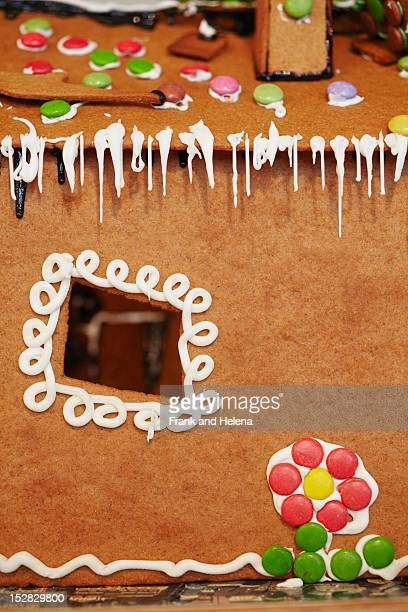 Close up of decorated gingerbread house