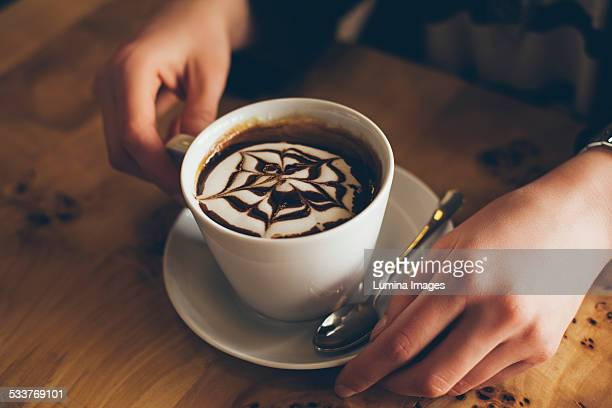 close up of decorative coffee drink - mocha stock photos and pictures