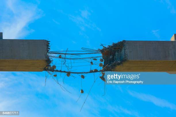Close up of deteriorating concrete span under construction