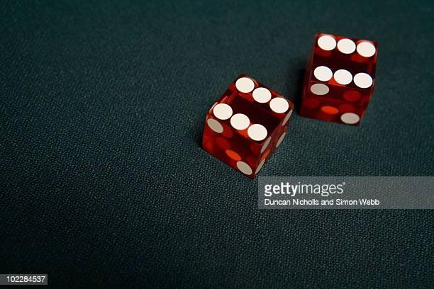 Close up of dice in casino
