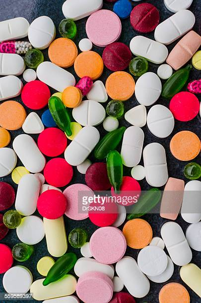 Close up of different pills