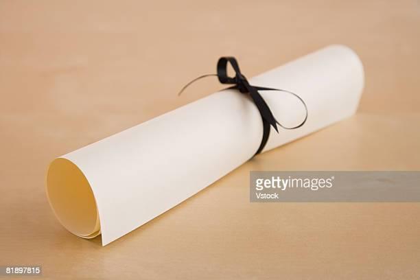 Close up of diploma