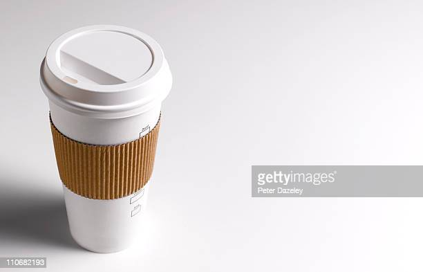 Close up of disposable coffee/tea cup