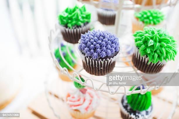 Close Up Of DIY Cactus Cupcakes