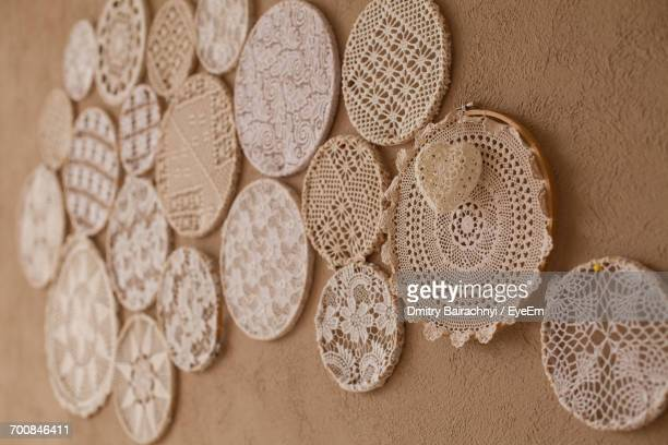close up of doilies on wall - doily ストックフォトと画像