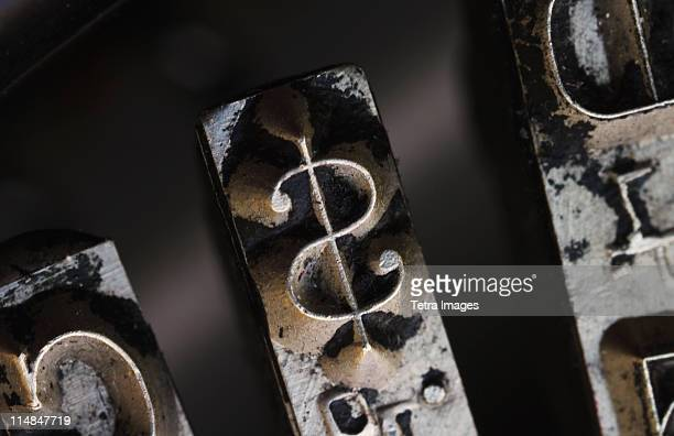 close up of dollar sign on typewriter key - dollar sign key stock photos and pictures
