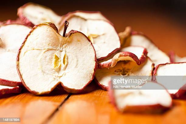 close up of dried apple slices - dried food stock pictures, royalty-free photos & images