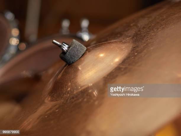 close up of drum set on recording studio - フェス ストックフォトと画像