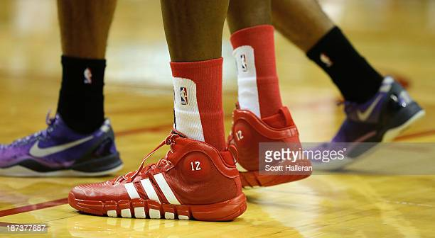 A close up of Dwight Howard's #12 of the Houston Rockets Adidas shoe during the game against the Los Angeles Lakers at Toyota Center on November 7...