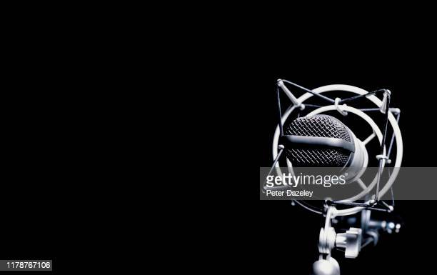 close up of dynamic vintage microphone - news not politics stock pictures, royalty-free photos & images