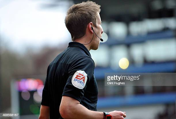 Close up of EA Sports logo on an assistant referees shirt during the Barclays Premier League match between Aston Villa and West Ham United at Villa...